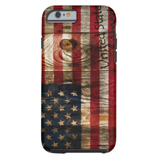 American Flag in wooden bord Tough iPhone 6 Case