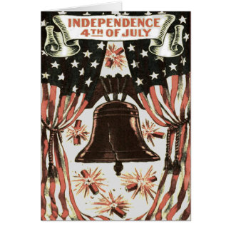 American Flag Independence Bell Fireworks Card