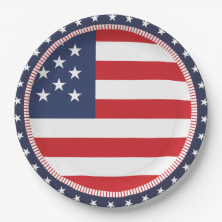 American Flag Independence Day Paper Plate 9 Inch Paper Plate