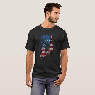 American Flag Indiana Deer Hunting Distressed T-Shirt