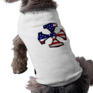 American Flag Iron Cross Dog Tee Shirt