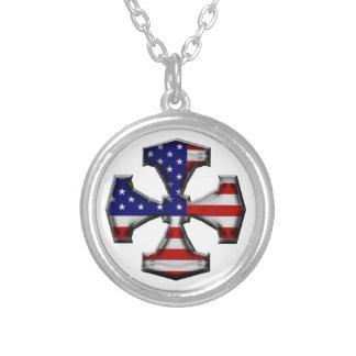 American Flag Iron Cross Custom Necklace