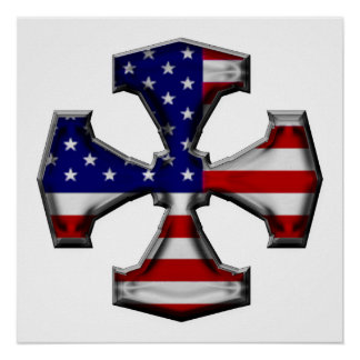 American Flag Iron Cross Poster