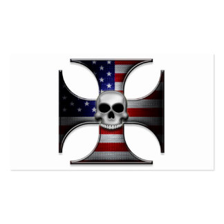 American Flag Iron Cross with Skull Business Card