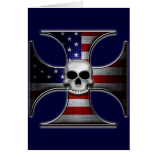 American Flag Iron Cross with Skull Cards