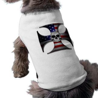 American Flag Iron Cross with Skull Doggie T Shirt
