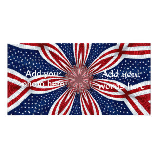 American Flag Kaleidoscope Abstract 1 Photo Card