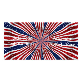 American Flag Kaleidoscope Abstract 2 Photo Cards