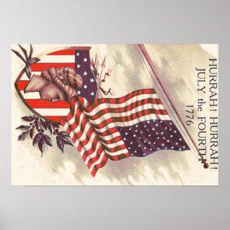 American Flag Lady Liberty Shield Poster