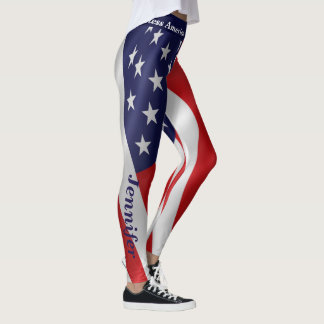 American Flag Leggings Your Name 4th July Parade