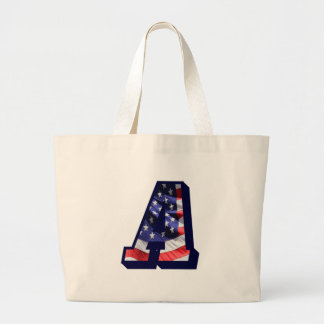 """American Flag Letter """"A"""" Large Tote Bag"""