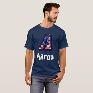 """American Flag Letter """"A"""" with Name T-Shirt"""