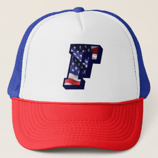 "American Flag Letter ""F"" USA Text Trucker Hat"