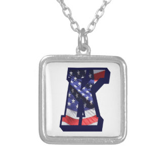 """American Flag Letter K"""" Silver Plated Necklace"""