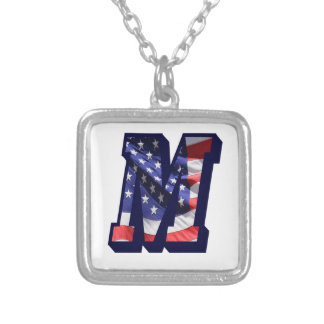 """American Flag Letter M"""" Silver Plated Necklace"""