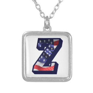 """American Flag Letter """"Z"""" Silver Plated Necklace"""