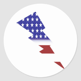 American Flag - lightning shape Classic Round Sticker
