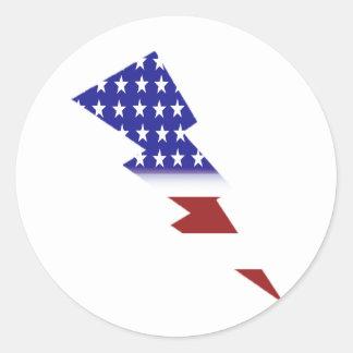 American Flag - lightning shape Classic Round Sticker