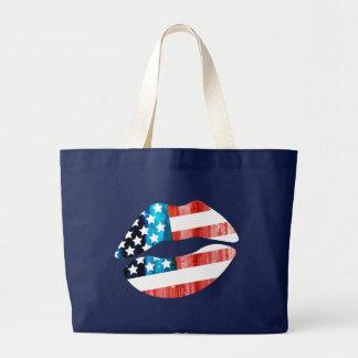 american flag,lips,kiss tote bags