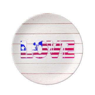 American Flag Love Porcelain Plate