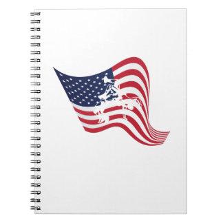 American Flag Love Wrestle Wrestling Spiral Notebook