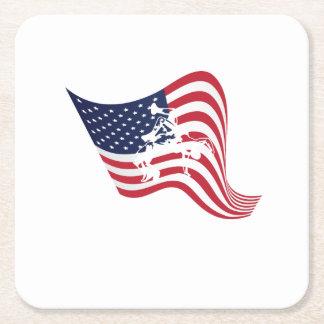 American Flag Love Wrestle Wrestling Square Paper Coaster