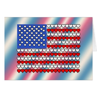 American Flag Made of Hearts Card