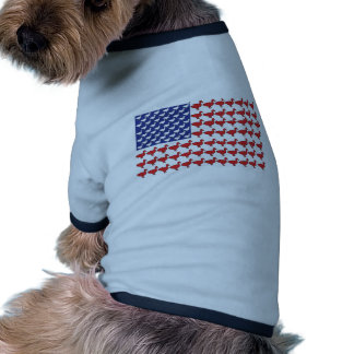 American Flag Made Out Of Ducks Ringer Dog Shirt