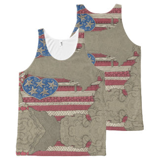 American Flag Map Doodle Art All-Over Print Tank All-Over Print Tank Top