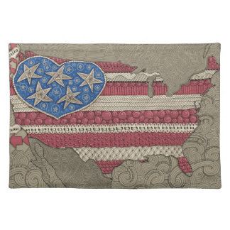 American Flag Map Doodle Art Cloth Placemat