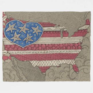 American Flag Map Doodle Art Fleece Blanket