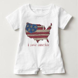 American Flag Map Doodle Art Infant Romper Baby Bodysuit