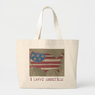 American Flag Map Doodle Art Jumbo Tote Bag