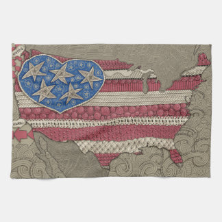 American Flag Map Doodle Art Kitchen Towel