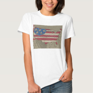 American Flag Map Doodle Art T-Shirt