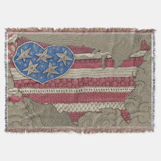 American Flag Map Doodle Art Throw Blanket