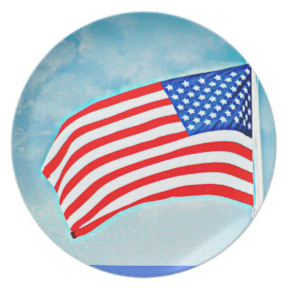 American Flag Melamine Plate