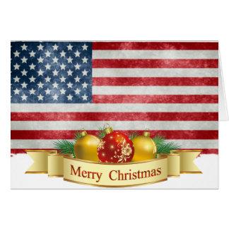 American Flag Merry Christmas Card