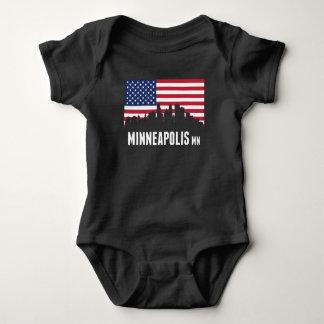 American Flag Minneapolis Skyline Baby Bodysuit