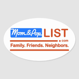 American Flag Mom and Pop Oval Stickers