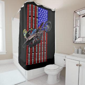 American flag Motocross Shower Curtain