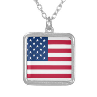 American Flag Square Pendant Necklace