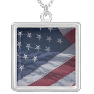American flag. personalized necklace