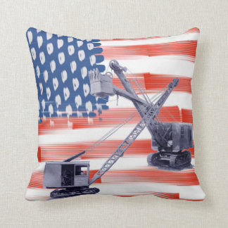 American Flag Northwest Crane Operator  and Shovel Throw Pillow