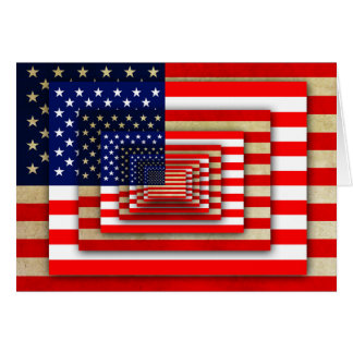 American Flag - Old and New Layers - Patriotic Card