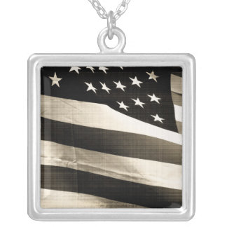 American flag old photo style square pendant necklace