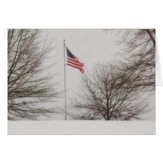 American Flag on a Snowy Day Greeting Card