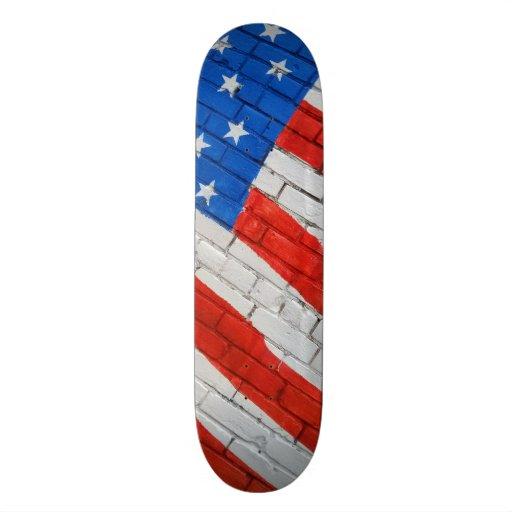 American Flag on Brick  Skateboarding Deck Skate Deck