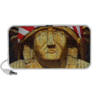 American Flag on Carving of Native American, Notebook Speakers