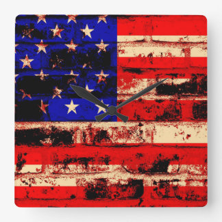 American Flag on Cracked Brick Wall Square Wall Clock